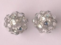10 Shamballa beads 12mm Silver AB Resin Rhinestone Beads